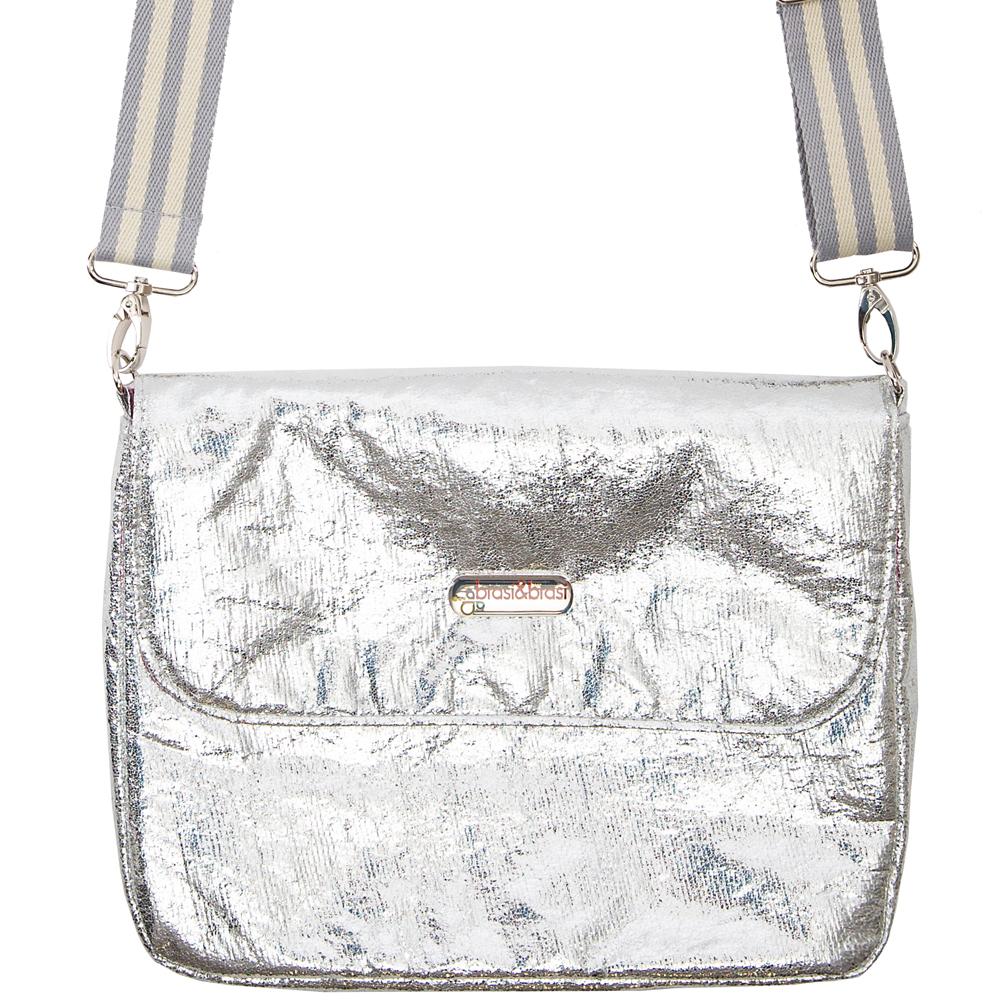 flap&bag stripe glitter silber  S
