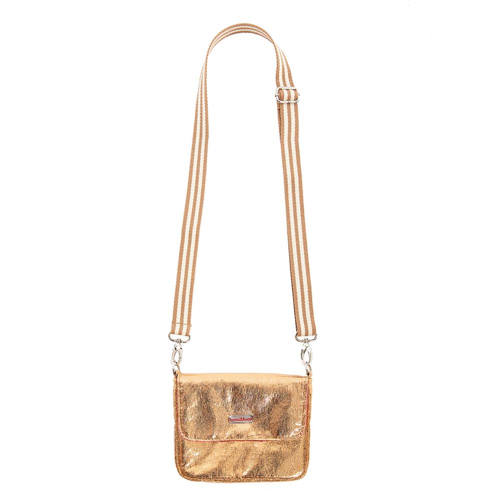 flap&bag stripe glitter rosegold small