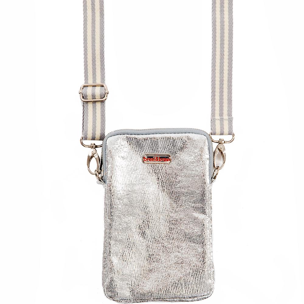 handy&zip stripe glitter silber  mit Reissverschluss